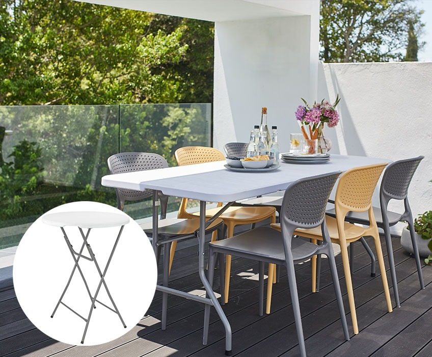 Garden table with chairs in grey and yellow with an insert of a bar table